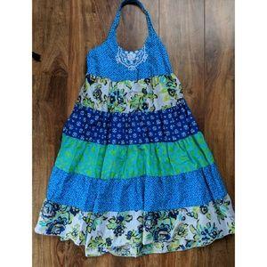 Mixed pattern halter dress